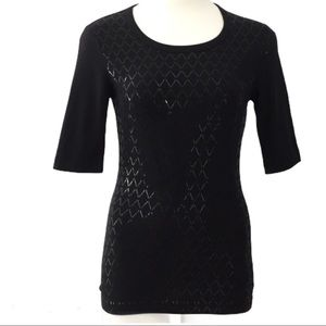 St. John Sport Black 3/4 Sleeve T-Shirt